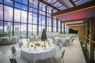With spectacular views of the River Thames and Docklands, Blue Fin Venue promises to take your Christmas dinner to new heights.