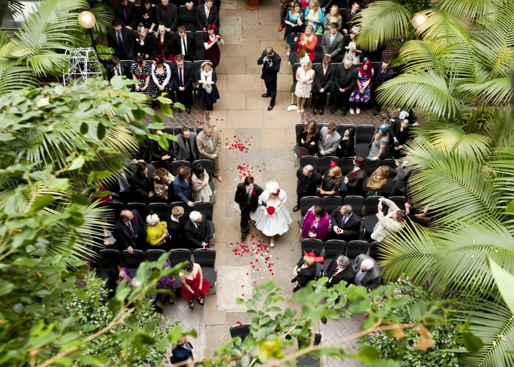 This hidden tropical oasis in the heart of the city is one of London's most unique small wedding venues.
