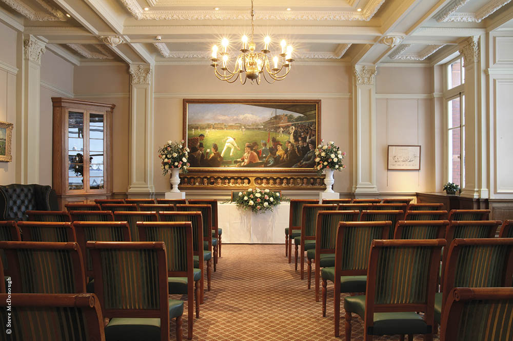 One of London's most memorable places to say 'I do', the Writing Room overlooks the vast expanse of the beautifully kept main ground at Lord's.