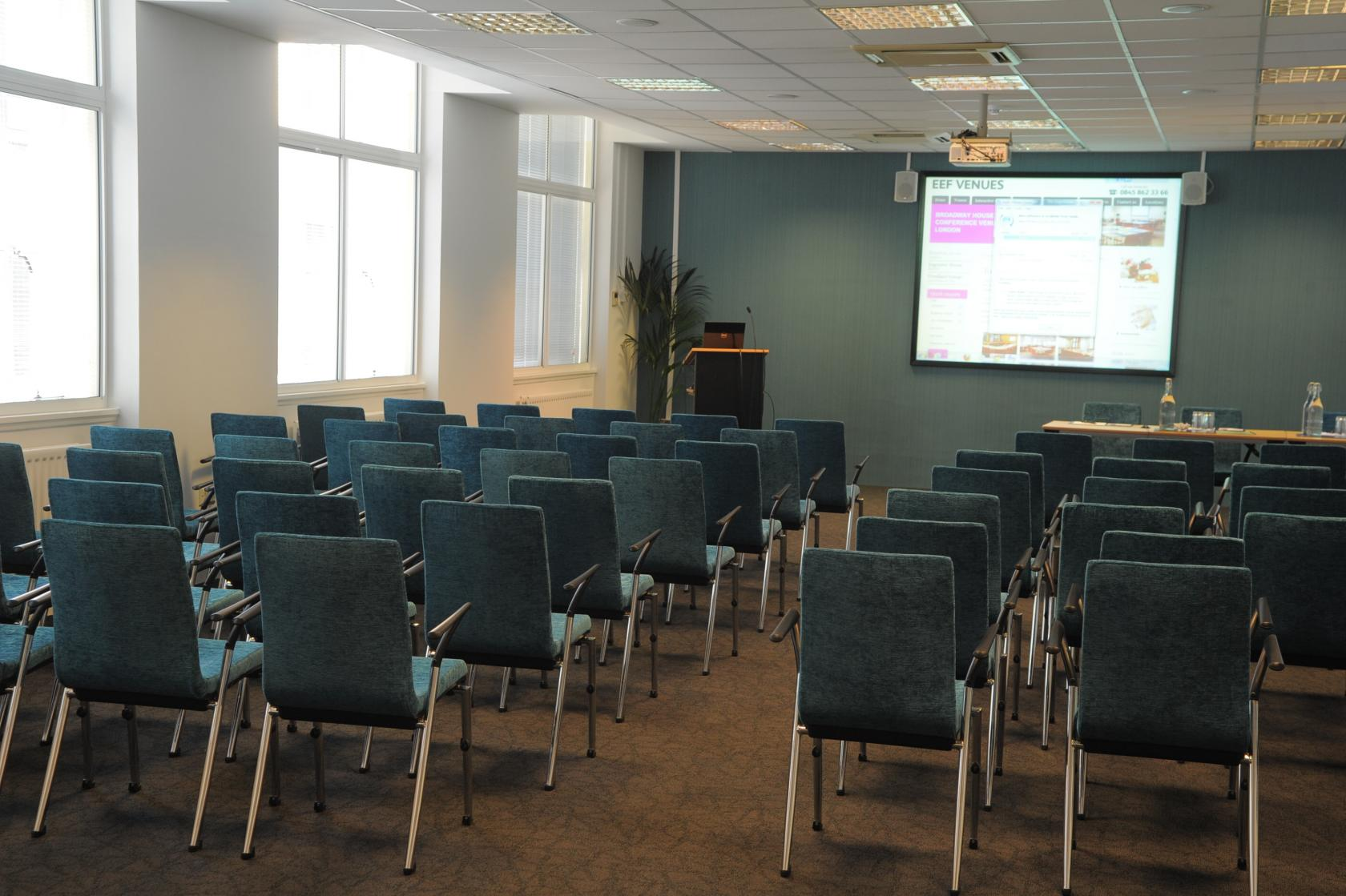 The Stephenson Room is Broadway House's largest suite, accommodating up to 120 delegates in a theatre-style layout.