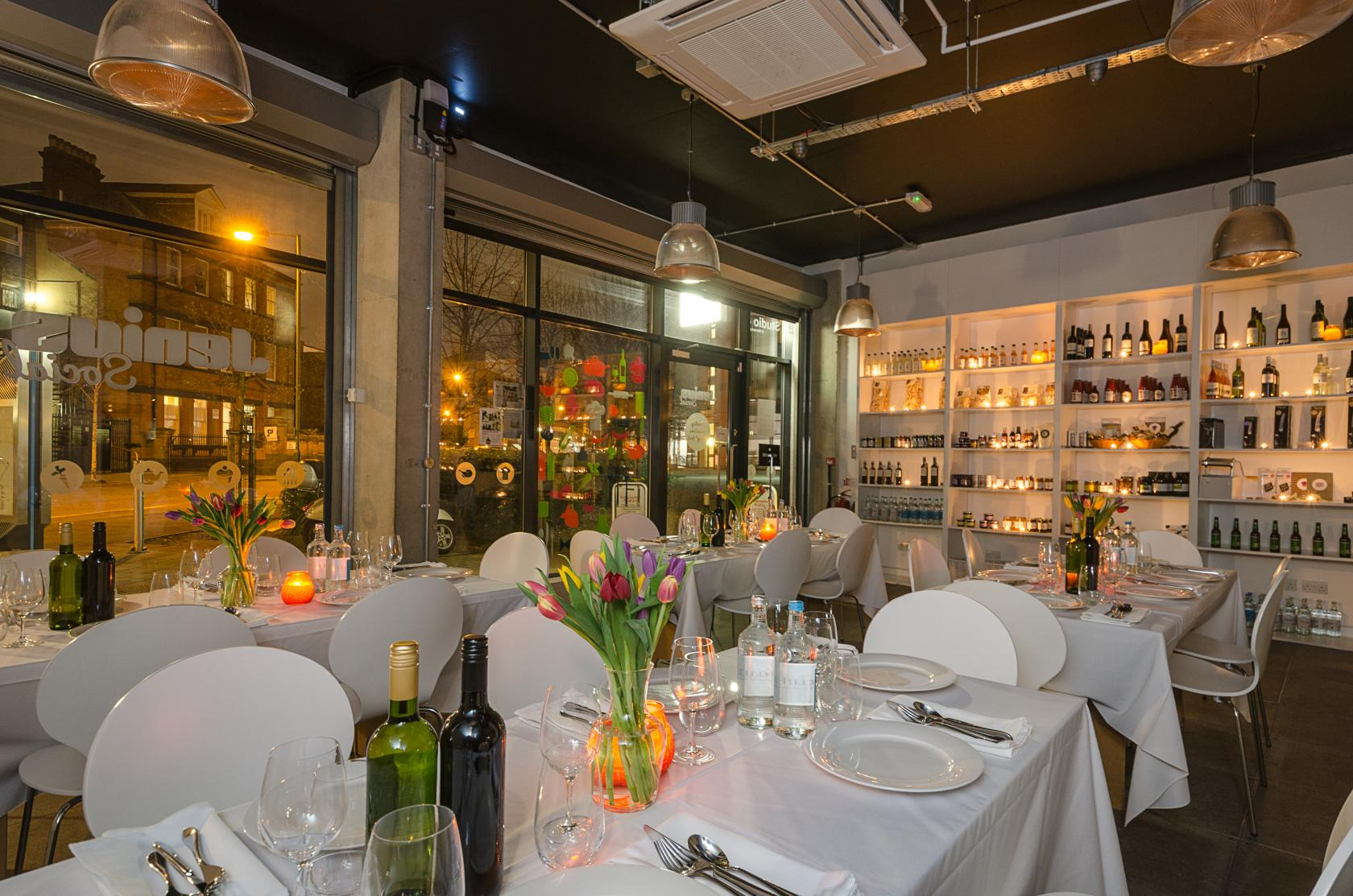This modern space in north London can be decorated to suit your Christmas party theme.