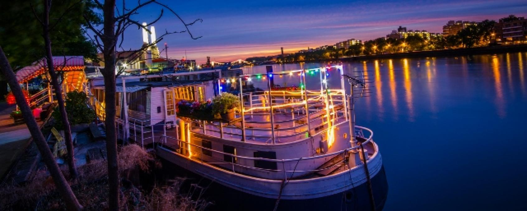 Moored on the Thames, this converted 1930s Dutch grain barge is a fun space for a Christmas party.