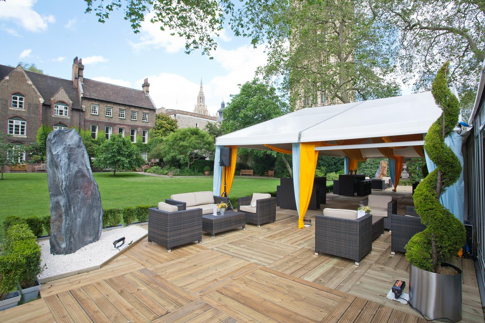 Magnificent views of Westminster Abbey and the Victoria Tower make this large venue one of London's most idyllic spaces for big outdoor events.