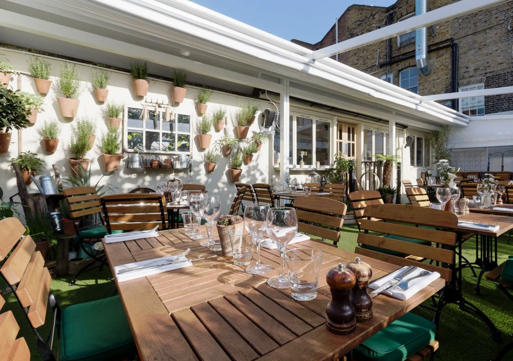 The garden at Bumpkin Chelsea can be hired for private events.