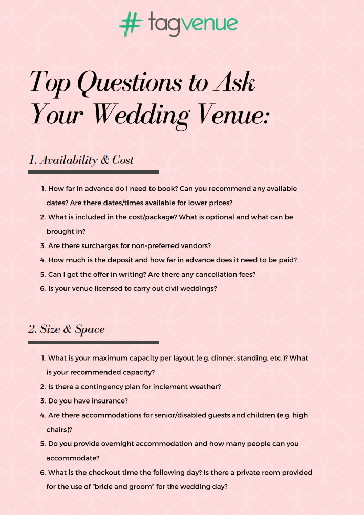 List of questions to ask a wedding venue