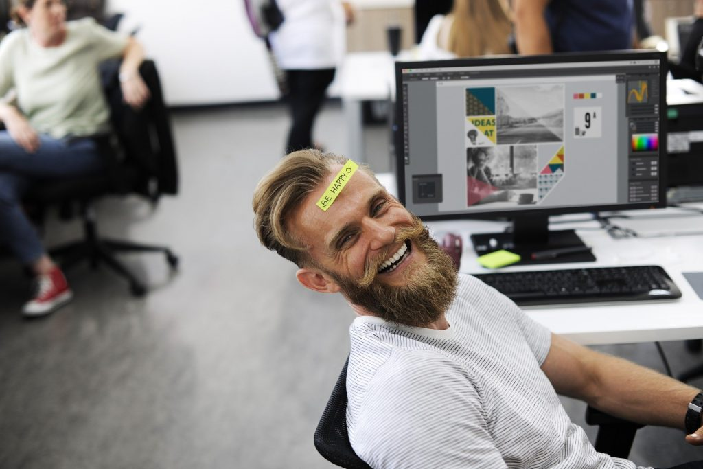 Office Games, man smiling