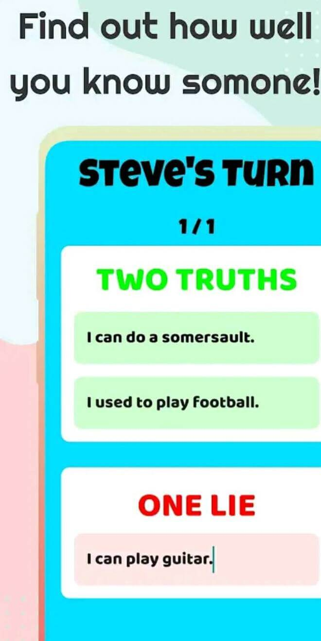 2 truths app on mobile phone