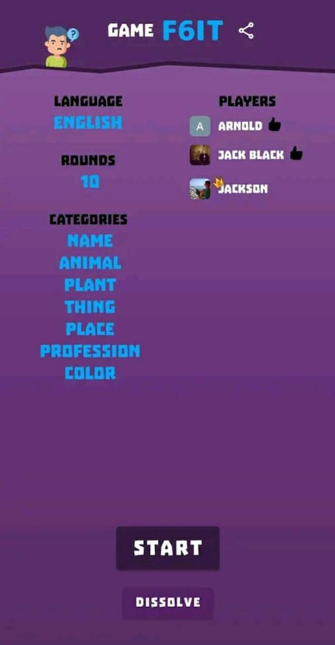 mobile game screen of name place animal thing