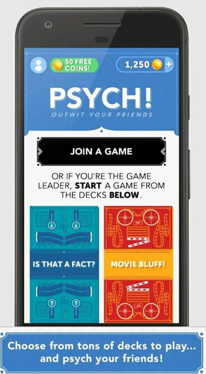 playing psych on a mobile app