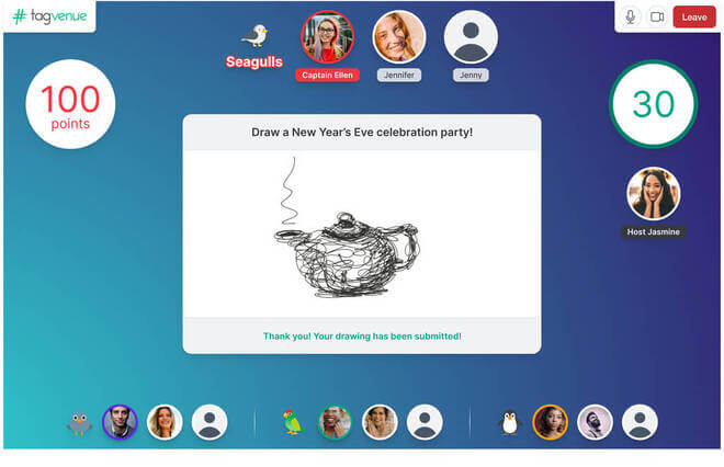 playing pictionary on tagvenue virtual