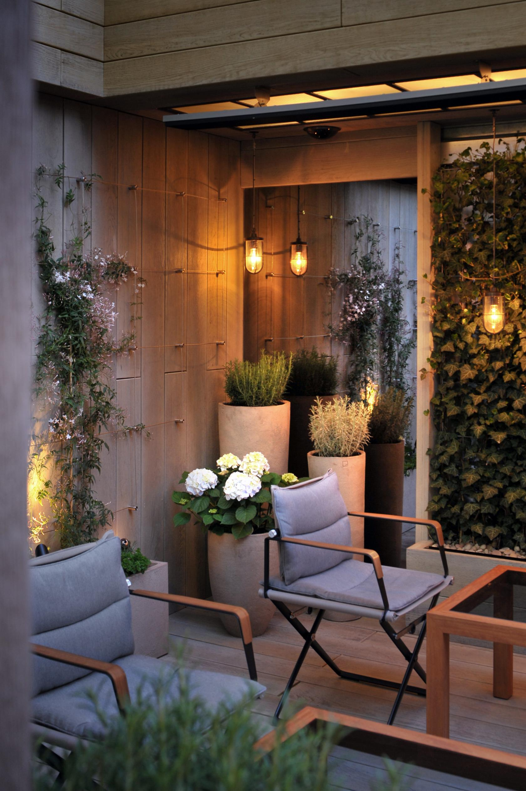 The garden terrace at the hari private hire for Garden rooms london